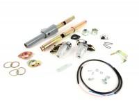 Conversion kit for handlebar indicators  - gear change/throttle tube set incl. handlebar end indicators and inner tubes -MOTO NOSTRA, LED, E-marked, 6 Volt- Vespa Rally, Sprint, TS, GT, GTR, GL150, SS180, PV125, ET3 - Ø=24mm - colourless
