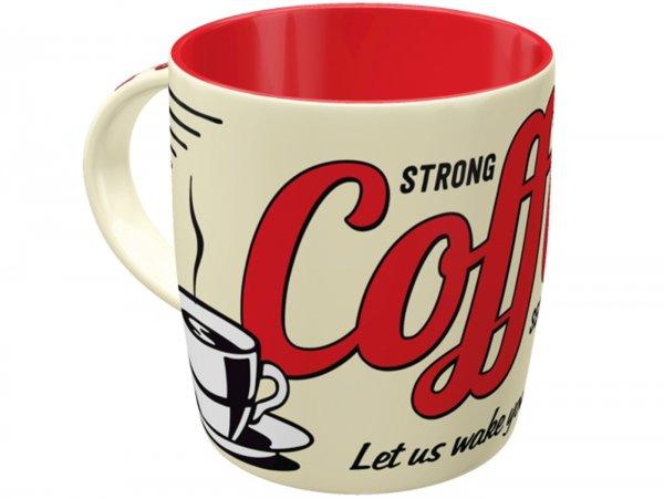 "Mug -Nostalgic Art- ""Strong Coffee Served Here"", Ø=85mm x 90mm, 340ml"