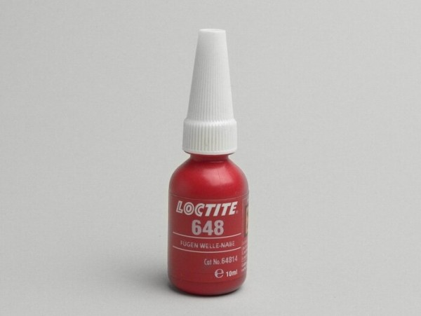 Retaining adhesive -LOCTITE 648 retaining compound for passive surfaces- high strength, oil tolerant, resistant up to 200°C- 10ml - used as adhesive for steel in combination with stainless steel or anodised surfaces