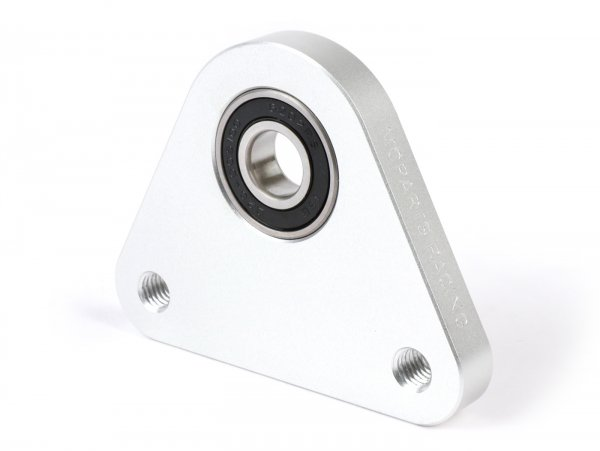 Lagerplatte Dreieck Hinterrad -MOPARTS RACING, CNC Aluminium- Piaggio Ciao, Bravo, Boxer, Citta, EC1, CBA, Grillo - inkl. Lager - Silbern eloxiert