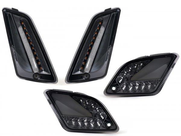 Blinker-Set vorne+hinten -MOTO NOSTRA (2019-) dynamisches LED Lauflicht, Tagfahrlicht vorne + Positionslicht hinten (E-Prüfzeichen)- Vespa GTS 125-300 HPE (2019-) - smoked