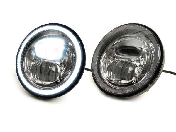 """Scheinwerfer (verchromter Reflektor) -MOTO NOSTRA- LED HighPower - Ø=143mm (5 3/4"""") - 12V DC - mit E9-Kennzeichnung - zur Umrüstung von z.B. Vespa PX, Cosa, Sprint, GTR, Rally"""