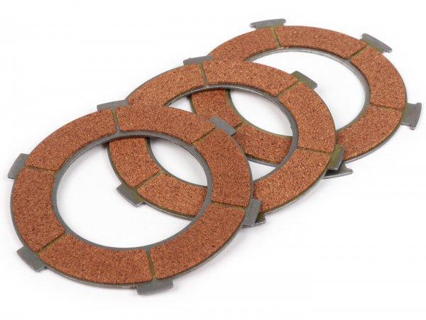 Kit disques d'embrayage garnis -QUALITÉ OEM type 6 ressorts, 3 disques - Vespa PX80, PX125, PX150, Sprint, TS, Super, GT, GTR, VBA, VBB, VNB, VNA2T (081469-), Ape 150c
