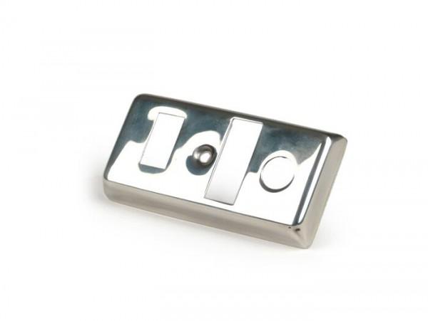 Tapa llave de luces -VESPA- Vespa V50 Special (modelos sin intermitentes), V50 R, PX80, PX125, PX150, PX200125, PX80, PX125, PX150, PX200 (modelos sin intermitentes) - acero inoxidable
