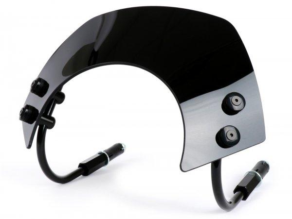 Windschutzscheibe mit schwarzen Haltern -MOTO NOSTRA, b=340mm, h=105mm- Vespa GTS 125-300 HPE (2019-) ccm - schwarz getöntes Glas