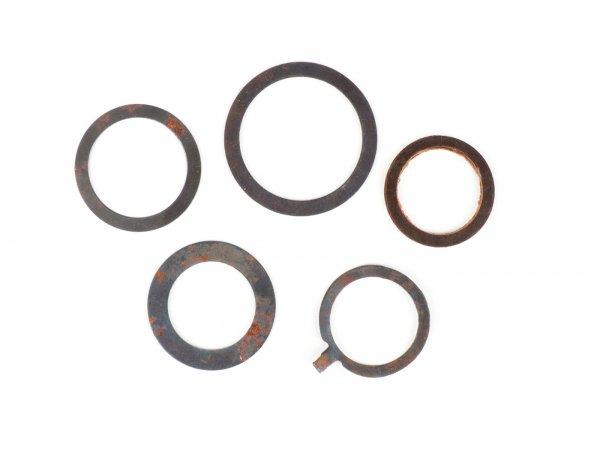 Kit arandelas y arandelas elásticas para tubo mando gas/cambio, 5 piezas -CALIDAD OEM Ø=22mm- Vespa VNB3T, VNB4T, VNB5T, VNB6T, VBB, GS 150 (VS2T, VS3T, VS4T, VS5T), GS 160 (VSB1T)