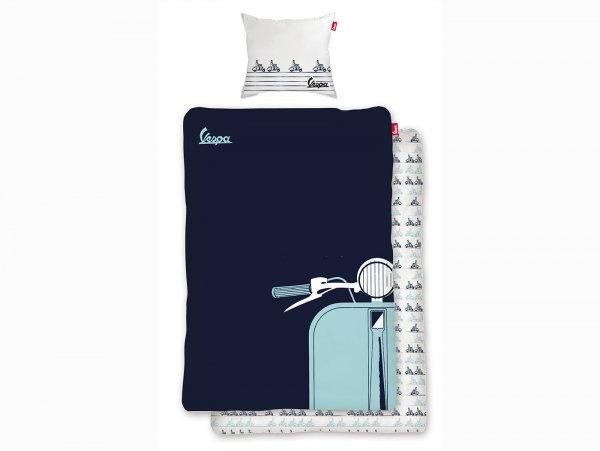 Biancheria da letto -Vespa Silhouette- Dimensioni: 135x200cm / 80x80cm, blu, 100% cotone