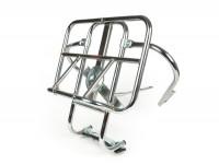 Portapacchi posteriore ribaltabile + supporto ruota di scorta -AMS CUPPINI- Vespa (non PX) + Lambretta - cromato