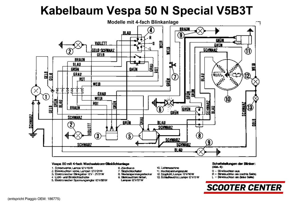 kabelbaum oem qualit t vespa v50 special v5b3t. Black Bedroom Furniture Sets. Home Design Ideas