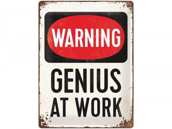 """Reklameschild -Nostalgic Art- """"Genius at Work"""", 30x40cm"""