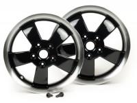 Pair of wheel rims -PIAGGIO 2017 Super - black with polished rim, 3.00-12 inch - 5 spokes- Vespa GT, GTL, GTS, GTV 125-300cc - models - black