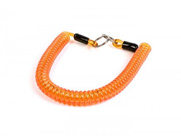Key ring -MOTO NOSTRA Spiral- length 300mm - z.B. für Vespa Klassik (Verbindung zwischen Zündschloß im Lenkerdeckel und/oder Lenk-/Gepäckfachschloß bei PX alt, Rally, Sprint, ET3, Motovespa etc.) orange