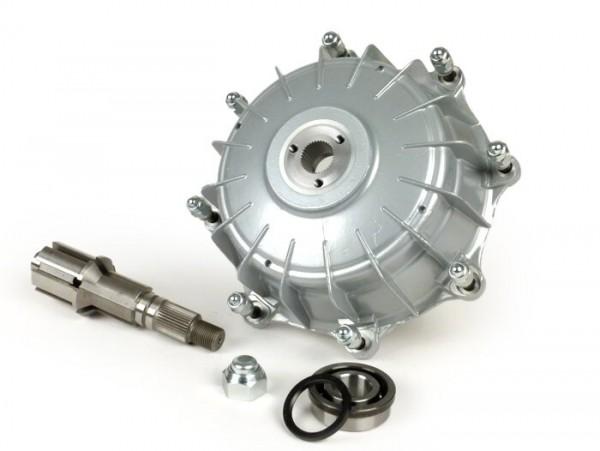 Tambor de freno trasero, eje rueda trasera y rodamiento incl. -CASA PERFORMANCE Octopus Multispline- Lambretta LI (serie 3), LIS, SX, TV (serie 3), DL, GP - pintado plateado