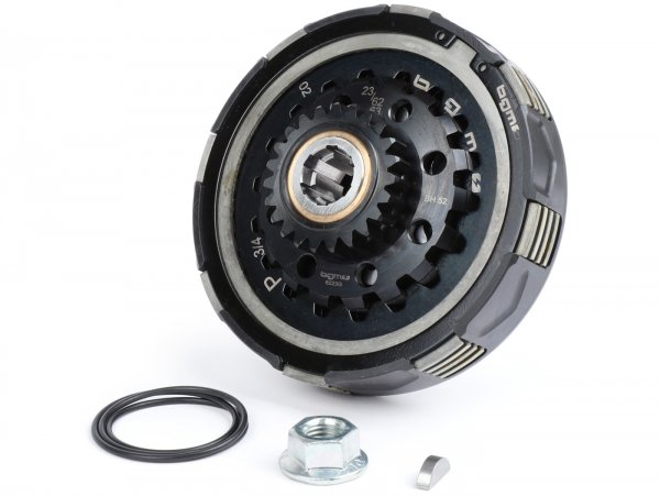 Clutch -BGM Pro Superstrong 2.0 CR80 Ultralube, Vespa Largeframe Type Cosa2/FL - for primary gear 62/63 tooth (straight) - (Typ mit Verzahnung für Kurbelwelle Pinasco 250/251) - 23 teeth