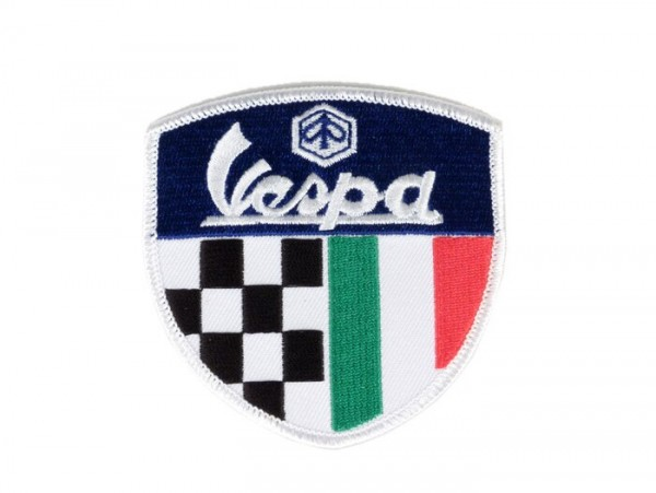 Patch thermocollant -PIAGGIO Vespa bleu (tricolore italien+à damiers)- 75x75mm