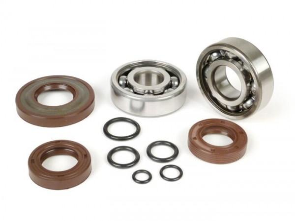 Lagersatz - Wellendichtringsatz für Kurbelwelle -BGM ORIGINAL- Vespa V50, PV125, ET3, PK50S, PK80S, PK125S - 1x 6303 + 1x 6204 - inkl. O-Ringe