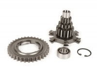 Gear cluster set incl. 4th gear with 34 teeth -BENELLI type Drag Cluster- Vespa PX125, PX150, PX200, T5 125cc, Cosa, Rally - 12-13-17-17 teeth
