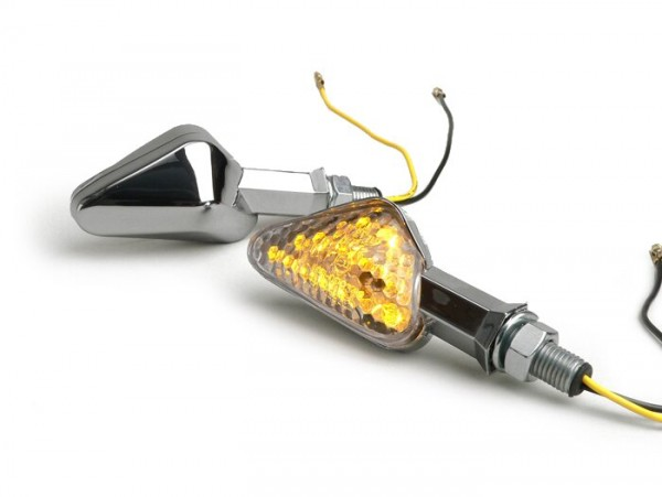 Par de intermitentes -TRIANGLE LED- universal - cromo