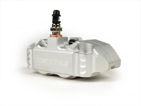 Bremszange vorne -BGM PRO, 4-Kolben, radiale Befestigung (Adapter benötigt)- für PX Disc, LML Star, Stella, Grimeca NT classic- Vespa PX (ab Bj. 1998, Serie), PX, T5 125cc, PK XL -  Silbern