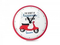 "Wall clock round -VESPA Ø=25cm- Vespa Primavera ""The secret of happiness is freedom"""