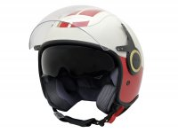 Casque -VESPA casque jet VJ- Racing Sixties- blanc rouge- XL (61-62 cm)