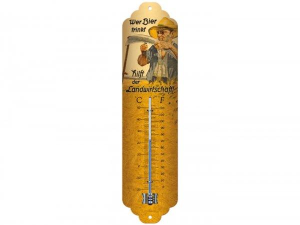 """Thermometer -Nostalgic Art- """"Wer Bier trinkt hilft der Landwirtschaft"""", 65x280mm"""