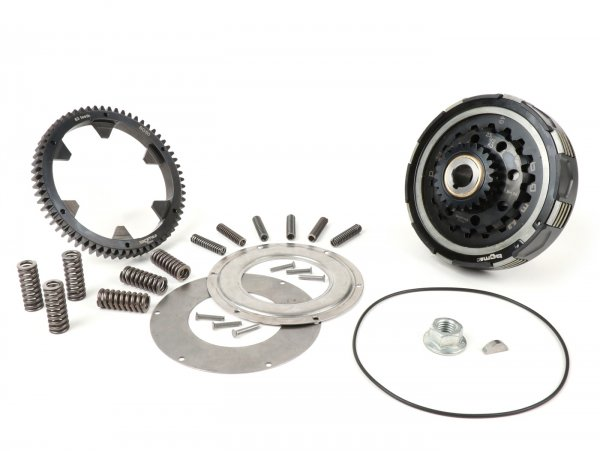 Kupplung inkl. Primärübersetzung -BGM Pro Superstrong 2.0 CR80 Ultralube, Typ Cosa2/FL- Primärrad BGM Pro 63Z (geradeverzahnt)- Vespa PX80, PX125, PX150, PX200, Cosa, T5, Sprint150 Veloce, Rally, GTR, TS125, Super150 (VBC) - Z23/63 (2,74)