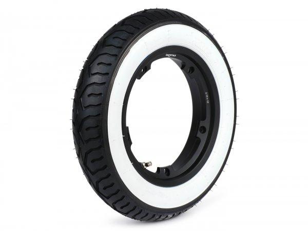 Wheel -MITAS MC12 white wall, tubeless, Vespa Smallframe V50, PV, ET3, PK- 3.00 - 10 inch TL 42J - wheel rim BGM PRO 2.10-10 Aluminium black