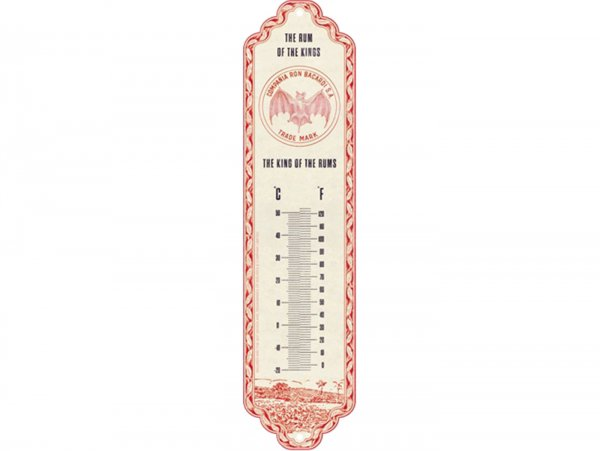 """Thermometer -Nostalgic Art- """"Bacardi - The King Of The Rums"""", 65x280mm"""