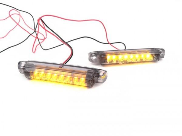 Pair of indicators -BGM PRO Micro 2x8 LED- universal - black - (60x8,5mm)