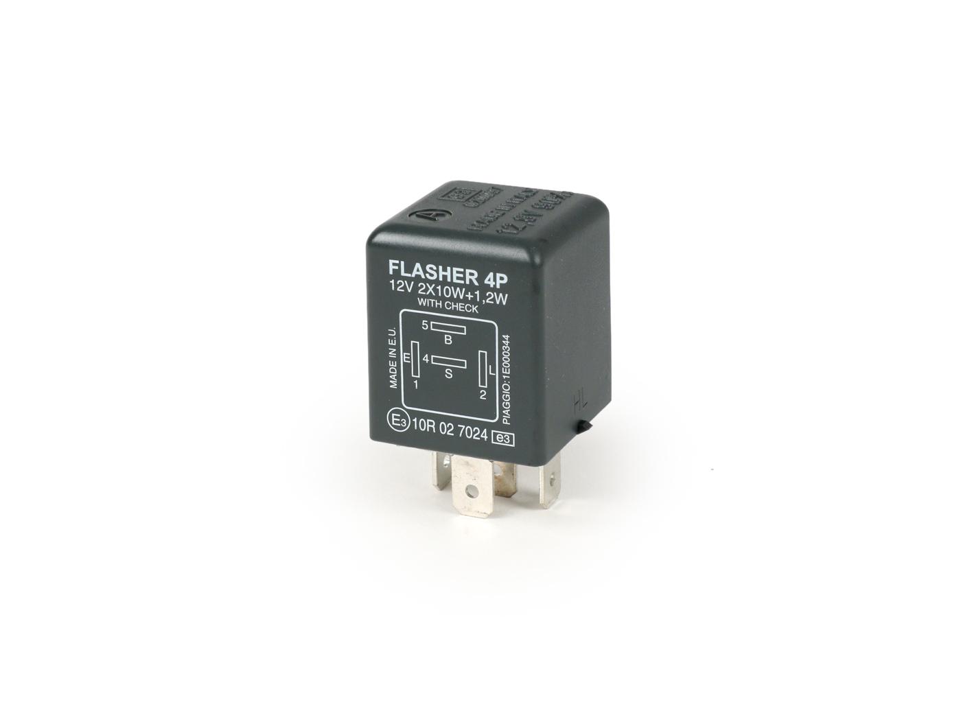 Indicator flasher relay -PIAGGIO 4-pin- 12V - (for Gilera Runner FX-FXR,  Piaggio Typhoon 125)