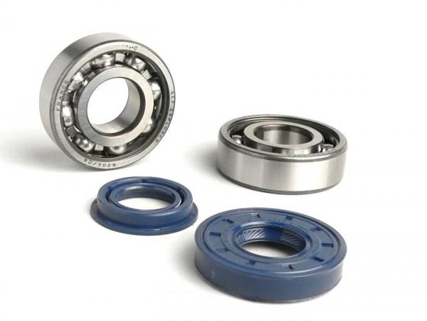 Kit rodamientos y retenes para cigüeñal -BGM ORIGINAL (SKF 6204/C4 jaula de metal)- Minarelli 50cc