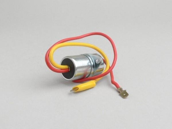 Kondensator -OEM QUALITÄT, Ø=20mm, 2-Kabel (rotes Kabel = Flachstecker)- Vespa Super, GT125 (VNL2T), GTR125 (VNL2T), TS125 (VNL3T), Sprint, Sprint Veloce, Rally180