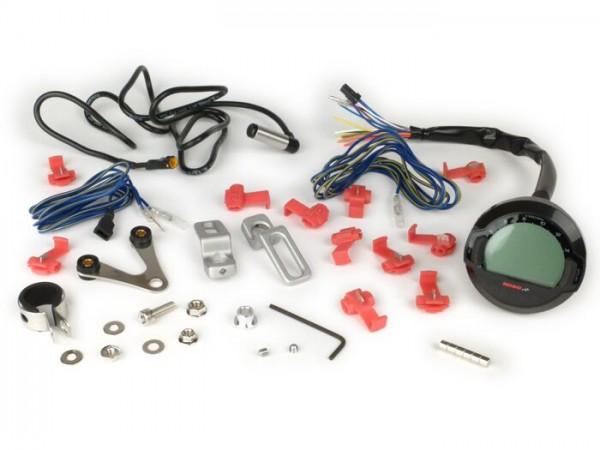 Tachometer -KOSO Digital DL-03SR, LCD Display, Drehzahlmesser, Signalleuchten, Uhr- universal (Ø=64mm) - schwarz