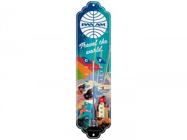 "Thermometer -Nostalgic Art- ""Pan Am - Travel the world Seaside"", 65x280mm"