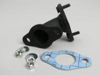 Auspuffkrümmer -SITO mit Drosselhülse (entfernbar)- für standard Auspuff - Vespa Smallframe V50, PK50/PK80 S, PK50/PK80 XL, PK50 XL2, PK50 HP, PK50 FL, PK 50 Automatik - Stahl - Auspuffbolzen M6/52mm, Zylinderflansch Ø8mm/52mm