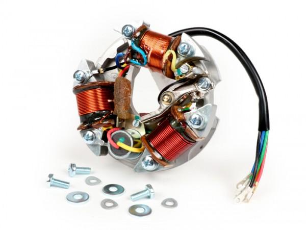 Encendido -VESPA soporte bobinas completo (encendido con platino, 5 cables, 6V, 3 bobinas, platinos largos, intermitentes)- Vespa V50 - 50R (V5A1T), 50 Revival (V5R1T), 50S (V5SA1T), 50 Special (V5A2T, V5B1T, V5B3T), 50 Special Elestart (V5B2T, V5A3T