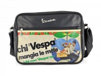 "Vespa bag shoulder bag -VESPA 30x23x9cm ""Chi Vespa mangia le mele""- imitation leather with colourful Canvas print - black"