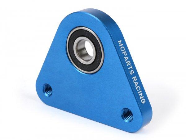 Lagerplatte Dreieck Hinterrad -MOPARTS RACING, CNC Aluminium- Piaggio Ciao, Bravo, Boxer, Citta, EC1, CBA, Grillo - inkl. Lager - blau eloxiert