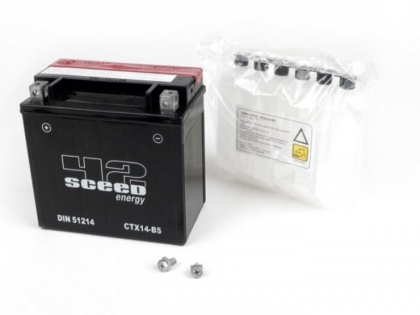 Battery -SCEED42 Energy YTX14-BS - 12V 12A - 150x87x145mm - Vespa LX, LXV, S 125/150ccm, GTS, GTS Super, GTV,GT L 125-300ccm,  Piaggio MP3, Beverly, Carnaby, X Evo, X10, X7 250 i.e., X8 125, X8 250 i.e., X8 400