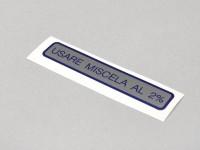 Étiquette mélange -QUALITÉ OEM- Vespa Usare Miscela al 2% (1:50) (60x11mm) - bleu
