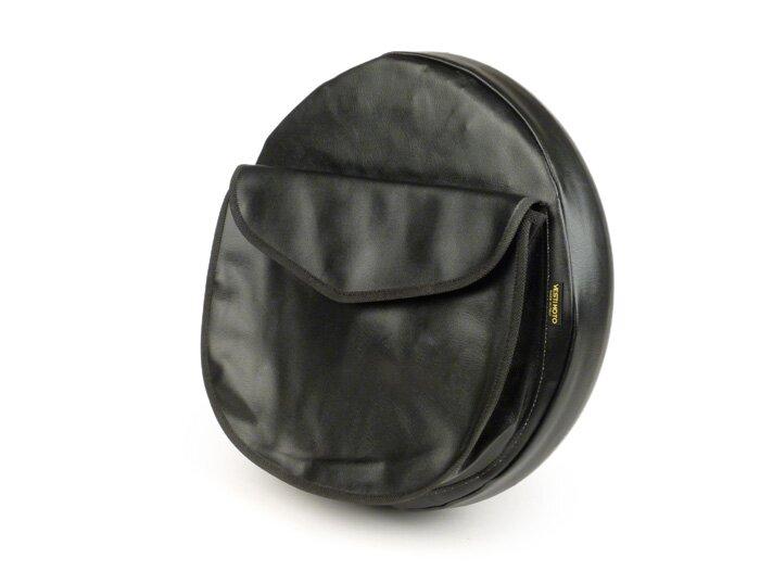 """LAMBRETTA//VESPA TSR 10/"""" Spare Wheel Cover PACEMAKER Graphic on Black"""