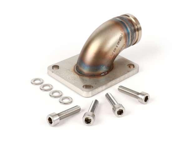 Intake manifold (upper part) -MRP reed valve (RD350) stainless steel- Vespa Largeframe PX, LML, Rally, Sprint, Cosa, T5, engine casing Pinasco Slave PX/T5 - Øinner=30mm - CS=34mm