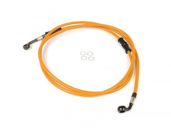 Tubería freno trasero para pinza de freno original -SPIEGLER latiguillo: acero inoxidable (naranja), racores: aluminio (negro)- Vespa (sin ABS) GTS 250 (ZAPM451), GTS 125 i.e. (ZAPM453), GTS 300 i.e. (ZAPM452)