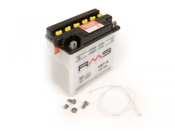 Battery -Standard RMS YB7-A- 12V 8Ah - 135x75x133mm (without acid) - Vespa Cosa125, Cosa200 (without electric starter), PX80 E FL, PX125 E FL PX150 E FL, PX200 E FL (all without electric starter), PK50 / PK80 / PK125 XL / XL2 Elestart, Piaggio SKR125