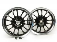 Coppia cerchi ruota -PIAGGIO 3.00-12 pollici - 14 razze- tipo Sprint - per Vespa Sprint 50 (ZAPC53201), Primavera 50 (ZAPC53200) - nero/bordo argento