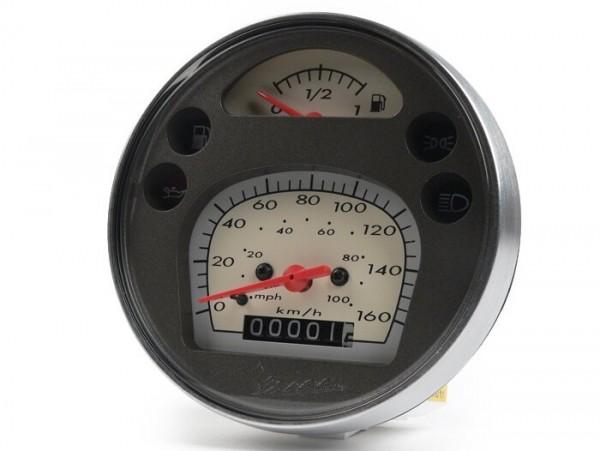 Tacho -PIAGGIO- Vespa Ø=105mm - GT 250 i.e. 60 (ZAPM451), GTV 125 (ZAPM313), GTV 250 i.e. (ZAPM451), (passend auch für Vespa Ø=105mm - PX Lusso, PK XL1) - 160km/h (100mph)