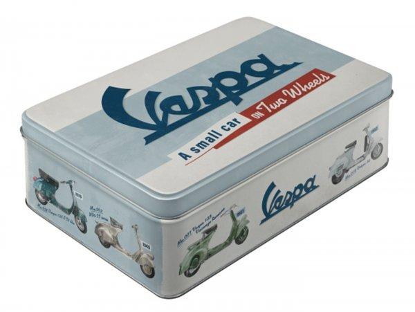 "Storage tin, flat  -Nostalgic Art- Vespa, ""A small car on two wheels"" - 23x16x7cm (2.5l)"