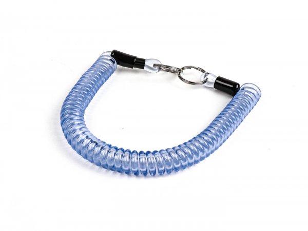 Key ring -MOTO NOSTRA Spiral- length 300mm - z.B. für Vespa Klassik (Verbindung zwischen Zündschloß im Lenkerdeckel und/oder Lenk-/Gepäckfachschloß bei PX alt, Rally, Sprint, ET3, Motovespa etc.) blue