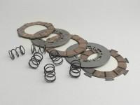 Kit dischi guarniti frizione -SURFLEX- Vespa SS180 (VSC1T), Rally180 (-VSD1T0014740) - (incl. molle Ø=22mm e dischi in acciaio)